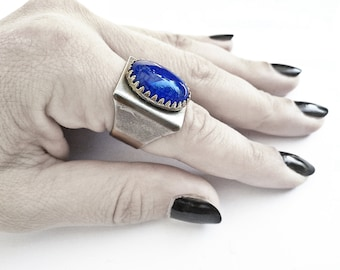 Blue Gothic Ring Rocker Ring Statement Ring Dragon Veins Ring Gemstone Ring Gothic Jewelry Rocker Jewelry
