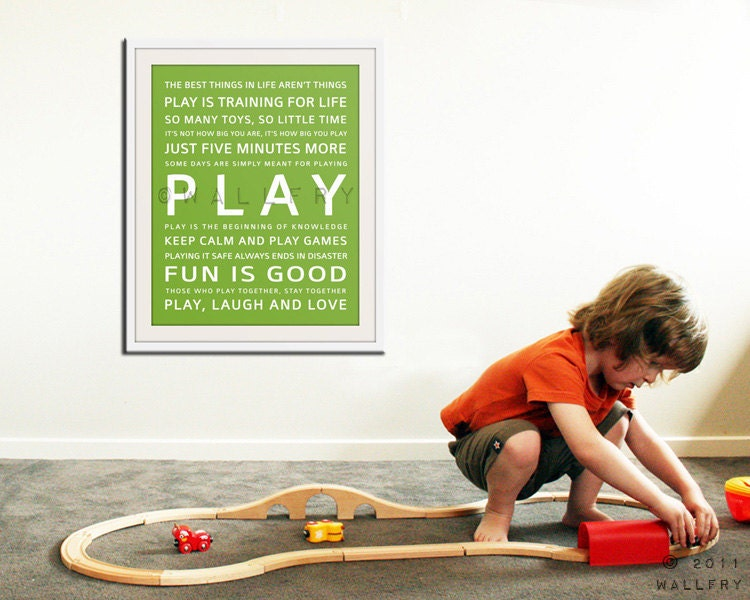 Children art PLAY typography art print for kids. Wall art