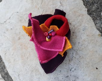 Pink and purple felted wool brooch