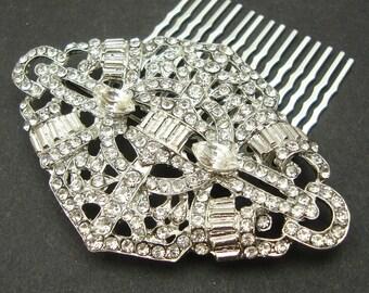 Bridal Hair Comb, Art Deco Crystal Wedding Hair Comb, Vintage Style Wedding Rhinestone Hair Comb, Bridal Wedding Headpiece, MEREDITH