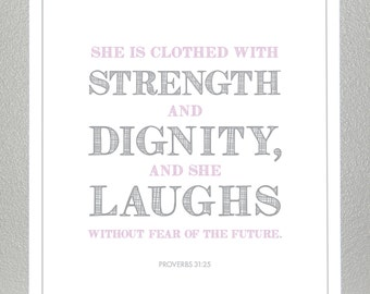 Girl Baptism gift - Purple and Gray - Proverbs 31:25  - Print