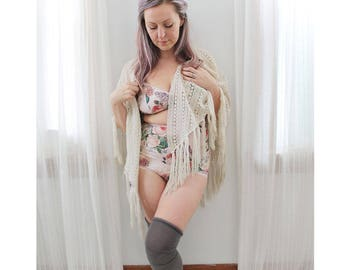 Pink Cabbage Rose Floral Cotton 'Midsummer' Lingerie Set with Wireless Bra and Retro High Waist Panties Handmade to Order