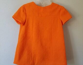 Vintage 60s Girls Orange Dress with Modern Pattern  - Size 18 Months - Handmade