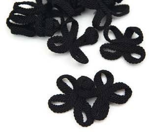 6 Set of Black Frog Closures 3 Inches Wide ATN00359