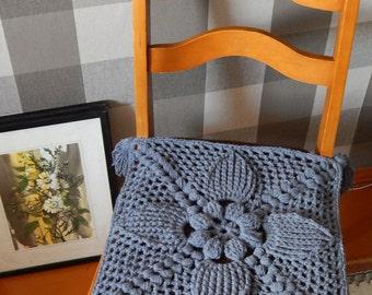 Seat Cushion, Crochet Chair Cover, Chair Pad, Stool Cover, Croche Seat Pad, Farmhouse Decor, Rustic Decor