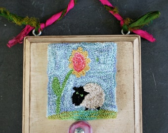 Sheep in the Garden Punchneedle Embroidery Pattern PDF