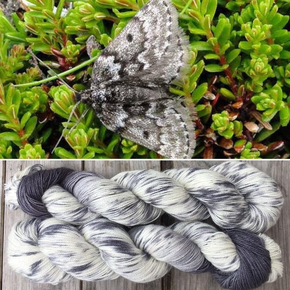 Mountain Moth Sparkle Sock, merino nylon blend grey gray speckle dyed indie yarn