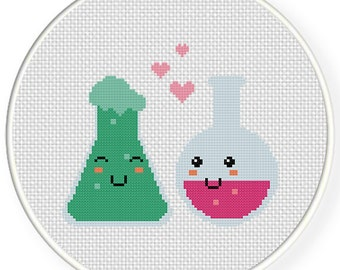 Love Chemistry PDF Cross Stitch Pattern Needlecraft - Instant Download - Modern Chart