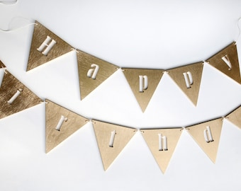 Birthday banner - birthday decor - birthday bunting - happy first birthday banner - 1st birthday banner - party banner - wooden bunting