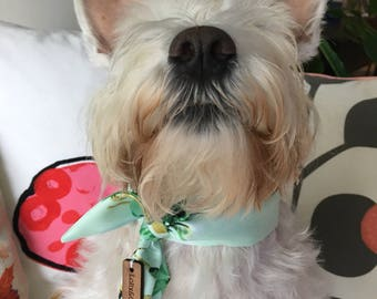 Mint Green Blossom Silk Dog Scarf, dog bandana, puppy bandana, pet