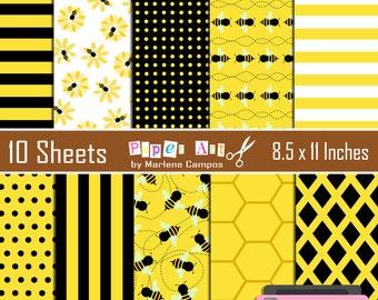 Bumble Bee digital Paper, Bumble Bee digital paper, scrapbooking, embellishment, Instant Download