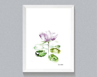 Printable Art Watercolor Lotus Flower, Botanical ArtLotus  flower  Art, Lotus flower Poster  Lotus Print Floral Print Art.Instant download.