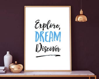Explore, dream discover -  mark twain quote, Explore, quote, instant download, wall decor, mark twain, gift ideas, home deco, printable wall
