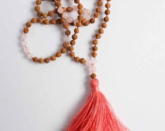 Rudraksha Mala Beads, Rose Quartz Necklace, Yoga Jewelry, Spiritual Jewelry, Buddhist Prayer Beads, Tibetan Necklace, Japa Mala
