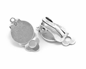 10, 20 or 40 clip earrings silver plate 10mm (5, 10 or 20 pairs) (non-pierced ears)