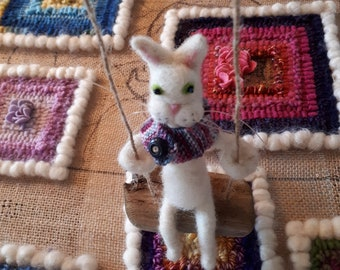 Needle Felted Wool White Cat on a Driftwood Swing Fiber Art Knit Scarf