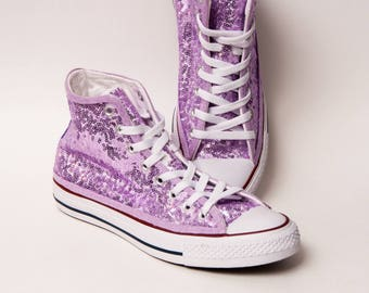 Tiny Sequin - Starlight Lilac Purple Over White Converse Hi Top Canvas  Sneaker Shoes