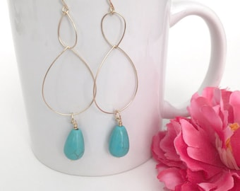 turquoise earrings - turquoise drop earrings - bohemian jewelry accessory - turquoise charm jewelry - turquoise charm jewelry - women's gift