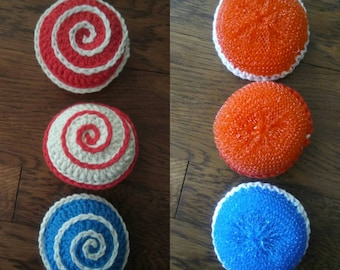 Polypropylene / cotton crochet Vegetable Scrubby dual sided scouring pad veggie brush reversible dual textured choose colors