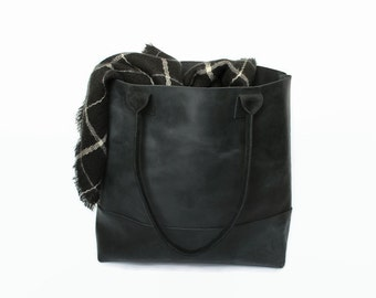 black, distressed leather tote bag, leather tote, leather bag