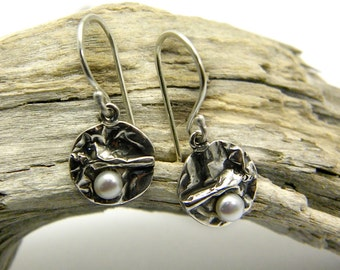 Small dangle pearl earrings sterling silver wrinkled silver disc white pearl jewelry