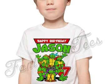 Teenage Mutant Ninja Turtles Birthday Shirt Add Name & Age TMNT Custom Birthday Party TShirt 01