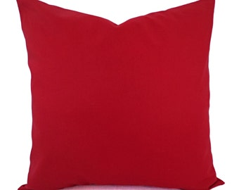 Solid Red Pillow Cover - Dark Red Pillow Cover - Linen Pillow Cover - Solid Red Throw Pillow - Custom Decorative Pillow - 16 x 16 Pillow 18