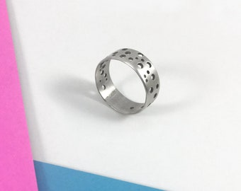 Holes Ring Band // Sterling Silver