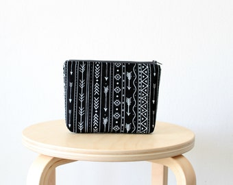 Black tribal print Cosmetic bag, Zipper pouch, Small clutch, Swallow print, School supplies, Birds, Nature, Natural linen look