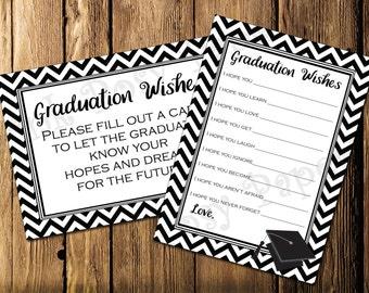 Printable Black Graduation Wishes- Instant Download