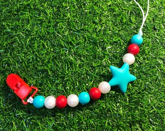 Baby teething pacifier clips~red turquoise  #foodgradesilicone #bpafree#babyshowergift #nontoxic #neverrustic #turquoisestar#red#mata