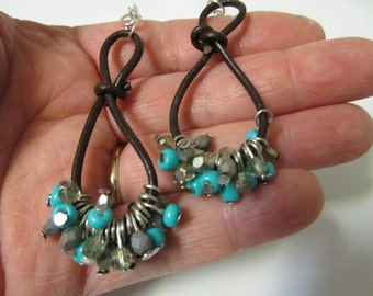 FREE SHIPPING! Cowgirl Earrings-Long Turquoise Beaded Leather Earrings-Country Western Earrings