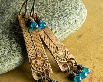 Bohemian Sundance Earrings Artisan Copper Blue Zircon Gemstone Rustic Boho Southwestern