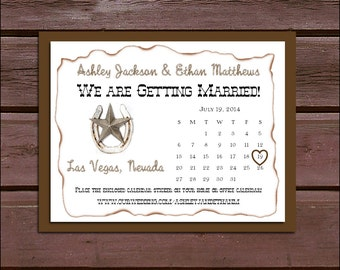 Western Rustic Wedding Save the Date Cards Invitations