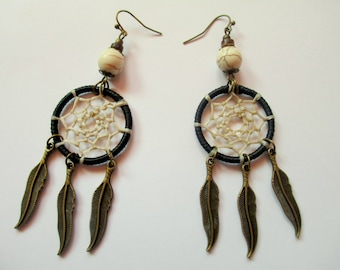 Earrings Dreamcatcher in black and beage