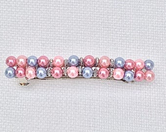 Spring Colors Barrette, Purple & Pinks Beaded Hair Barrette, Pearl Clasp, Bridesmaid Pastel Hair Clip, French Barette Accessory Collection