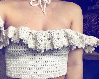 Carmen Top, Crochet Crop top