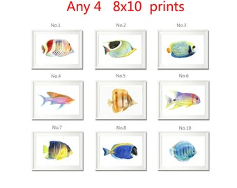 Set Of 4 Prints, Bathroom Wall Art, Fish Painting Print, Animal Prints Wall Art