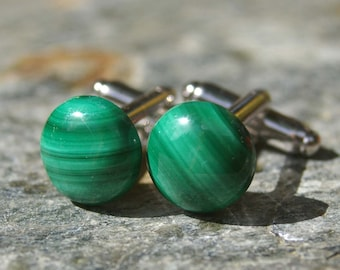 SALE! Cufflinks, Malachite and Sterling Silver Cufflinks - Gifts for Men, Wedding, Father's Day, Gift for Dad, Groomsman Gift, Teacher Gift