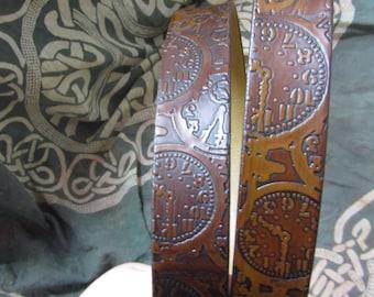 Customizable 1 1/2 inch, Steampunk Clock Face Design Leather Work or Casual Belt