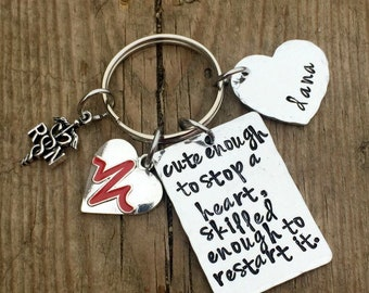 Nursing student gifts, nursing pin, Personalized nurse keychain, graduation gift for RN LPN nurse practitioner, cute enough to stop a heart
