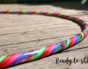 "Beginner Hoop 39"" Intermediate Travel MDPE Dance Adult Hula Hoop Tie Dye Sparkle Grip Tape"