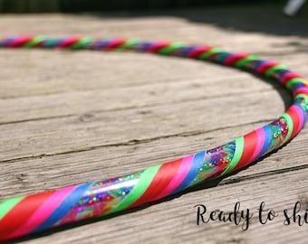 """Beginner Hoop 39"""" Intermediate Travel MDPE Dance Adult Hula Hoop Tie Dye Sparkle Grip Tape"""