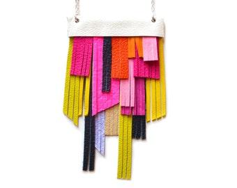 Bib Necklace, Pink Necklace, Leather Necklace, Fringe Necklace, Geometric Necklace, Yellow Necklace, Colorful Necklace, Statement Necklace