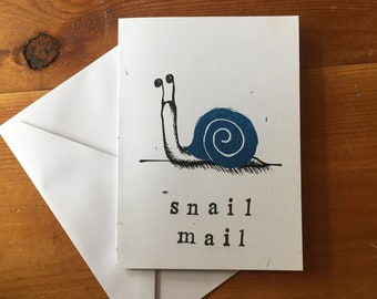 Snail Mail Greeting Card // Linoleum Relief Print