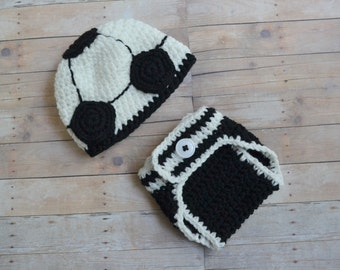 Baby soccer hat etsy newborn soccer outfit soccer ball hat and diaper cover set 0 to 3 months dt1010fo