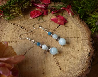 Blue apatite and aquamarine earrings