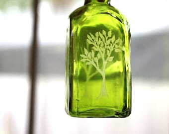 Engraved Glass, Hand Etched Tree of Life, Small Green Bottle, The Four Seasons Home Decor Jar by Hendywood