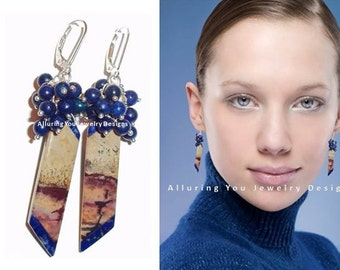 Lapis Lazuli Cluster Earrings, Cluster Earrings, Gemstone Earrings, Sterling Silver Earrings, Lapis earrings, Chohua earrings