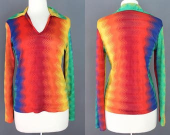 70's Disco Top    70's Polyester Rainbow Zig Zag Weave Pullover Disco Top